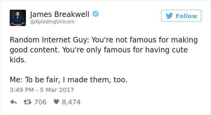 james breakwell tweets famous for having cute kids