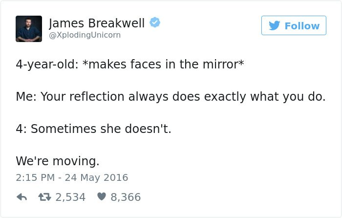 james breakwell tweets makes faces in the mirror