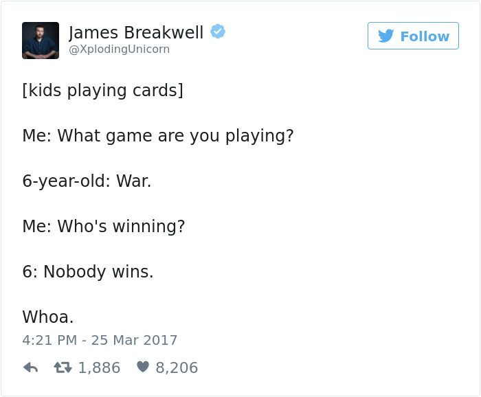 james breakwell tweets playing war