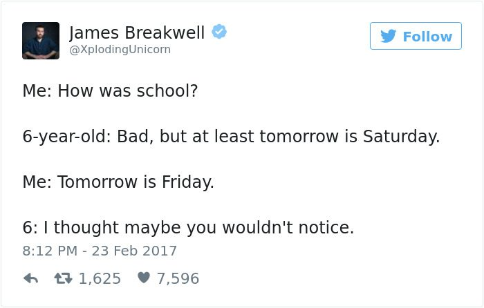 james breakwell tweets tomorrow is saturday