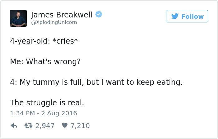 james breakwell tweets tummy is full