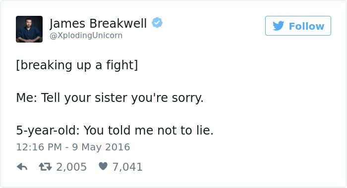 james breakwell tweets you told me not to lie