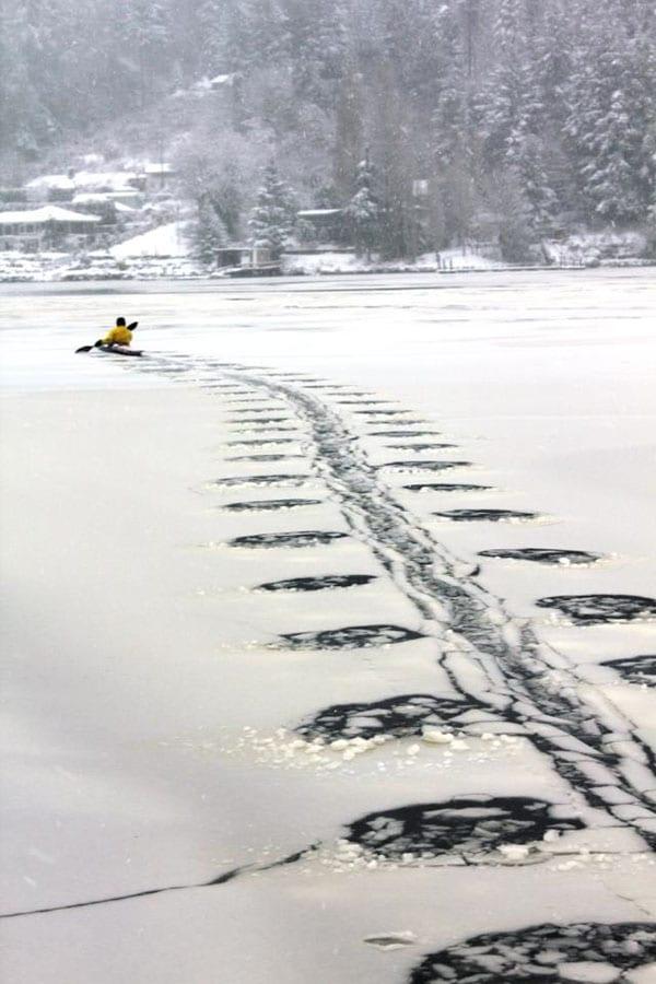 kayaking on ice