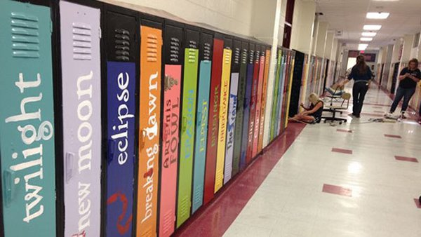 lockers painted as book names