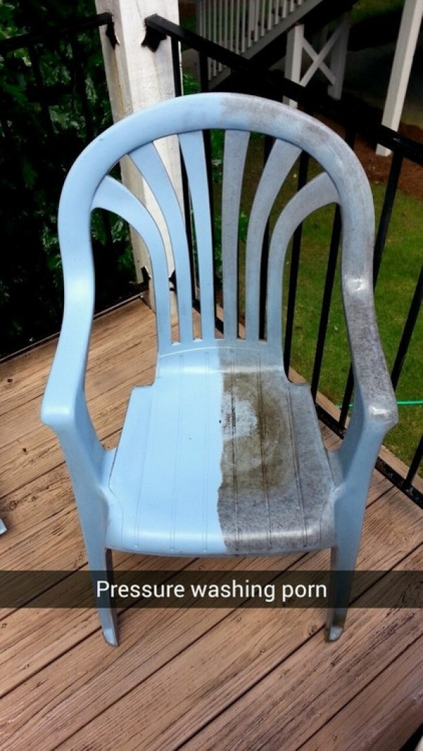 pressure washed chair