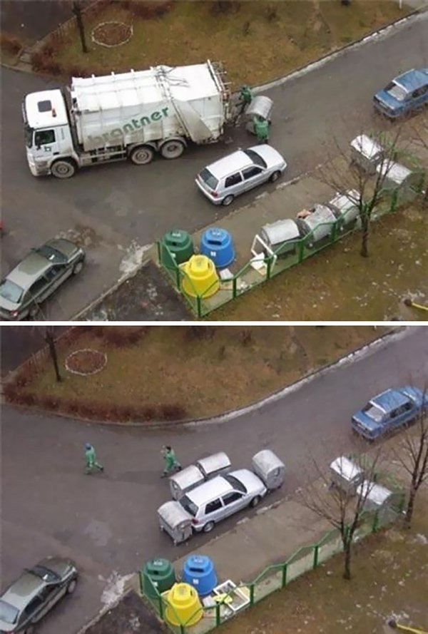 revenge stories garbage men block car in