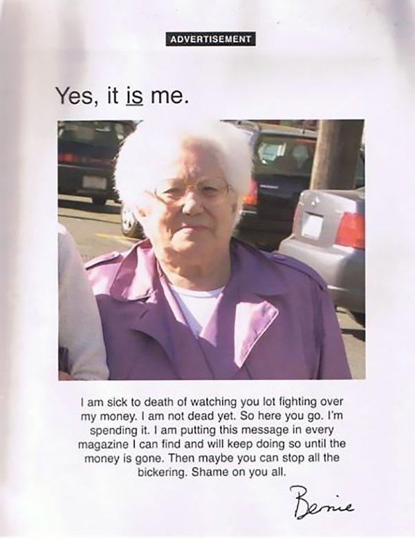 revenge stories grandma spending all her money