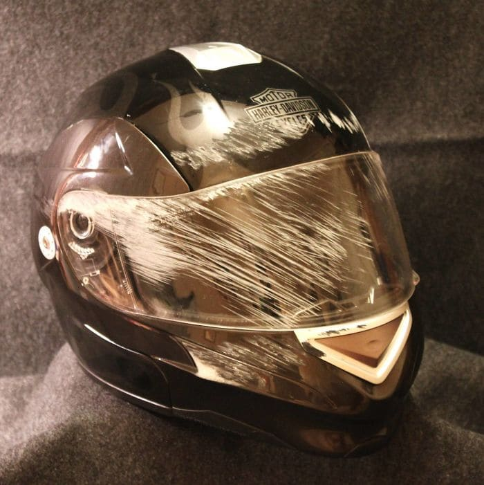scratched bike helmet