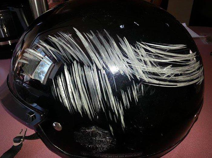 scratched helmet