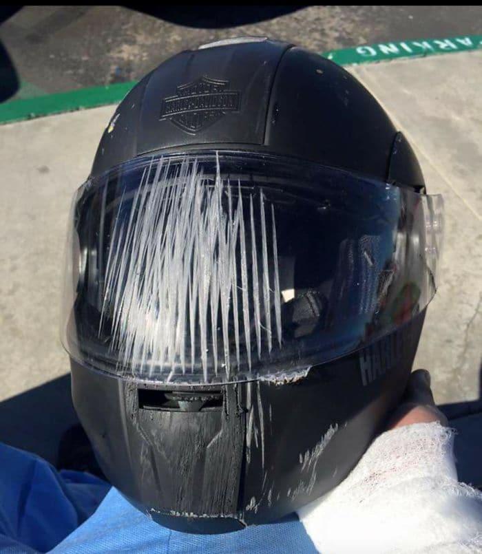 scratched motorbike helmet