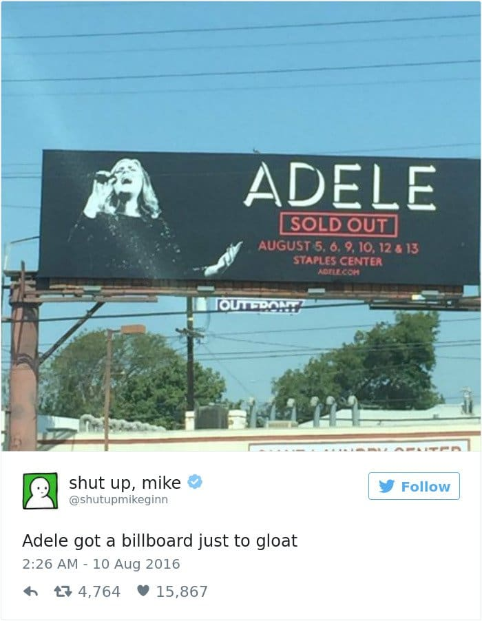 shut up mike tweet adele sold out