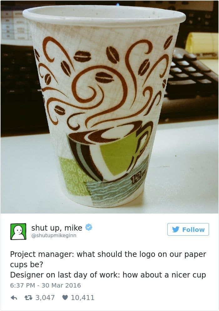 shut up mike tweet cup logo