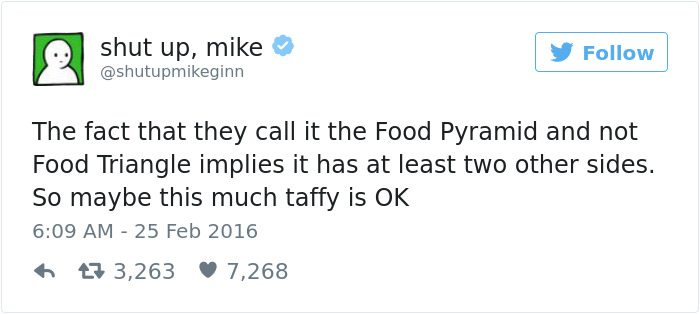 shut up mike tweet food pyramid