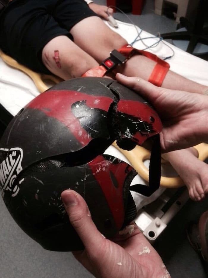 skateboard helmet cracked