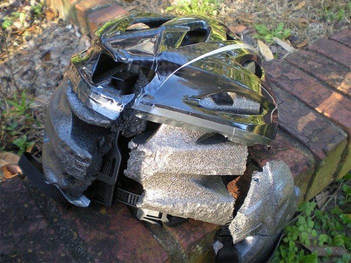 smashed helmet