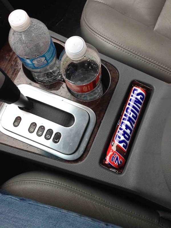 snickers fits perfectly in car