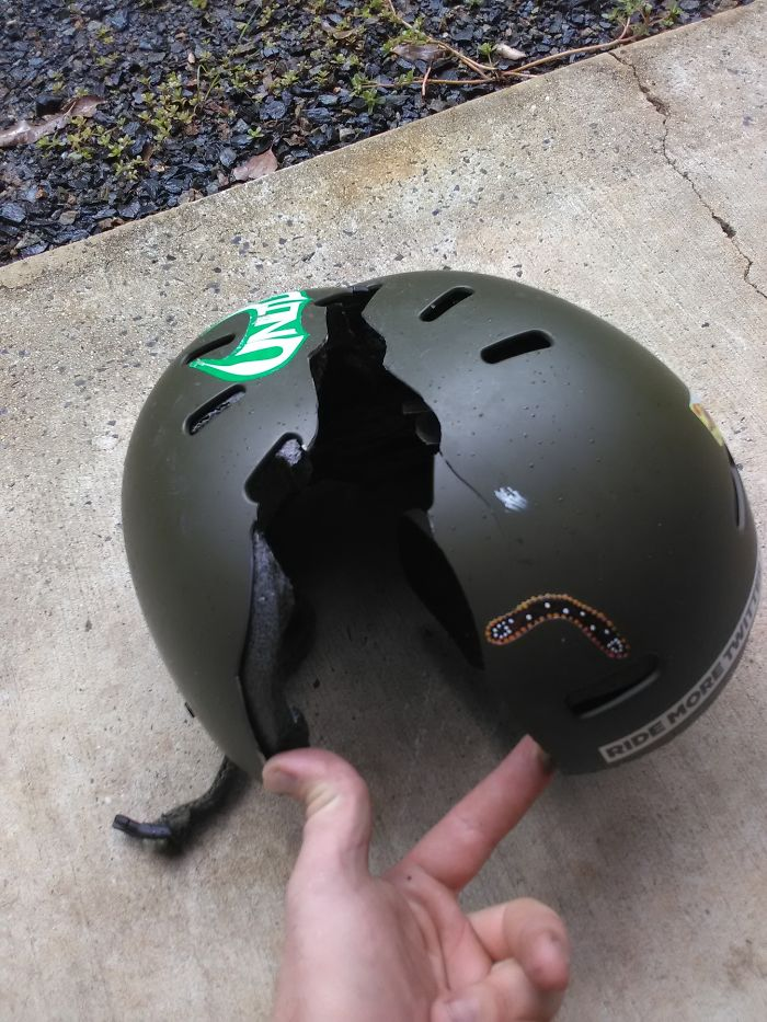 snow helmet broken in half