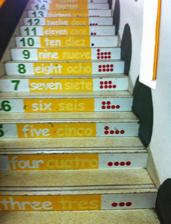 stairs with numbers on