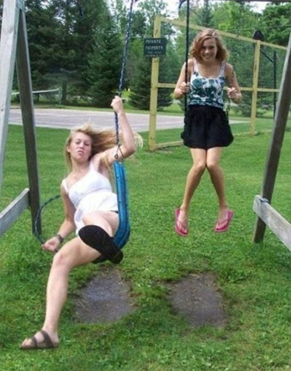 swing breaking girl about to fall off