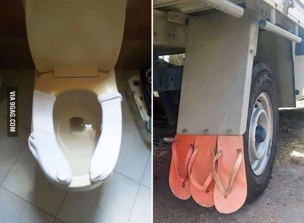 toilet seat with socks on