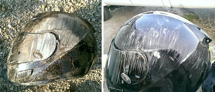 very scratched helmet