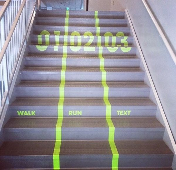 walk run text stair lanes