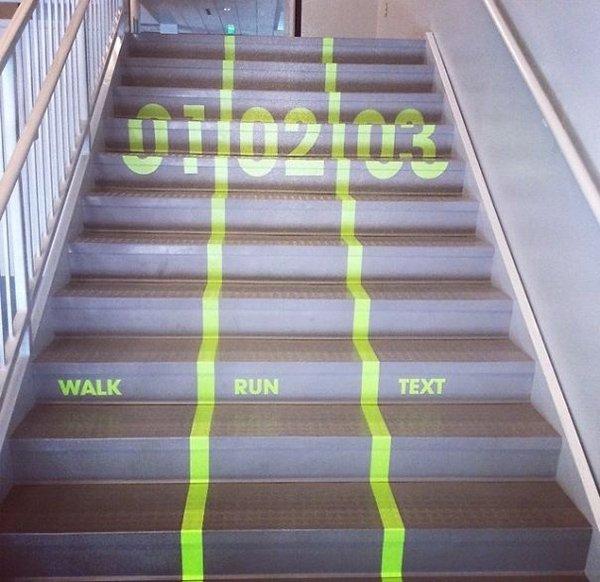 walk run text stair lanes