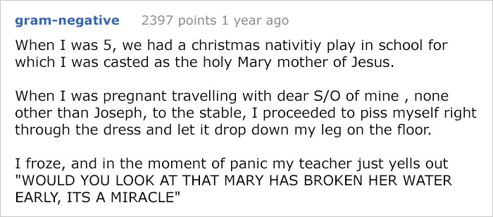 wet myself during nativity