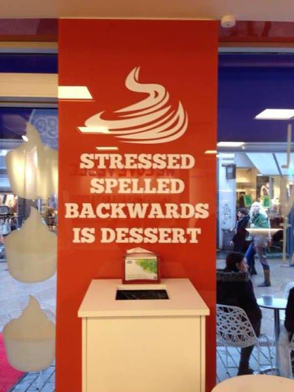 Bar And Restaurant Fails stressed spelled backwards