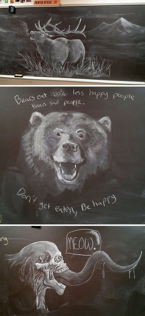 Best Teachers chalk board drawings