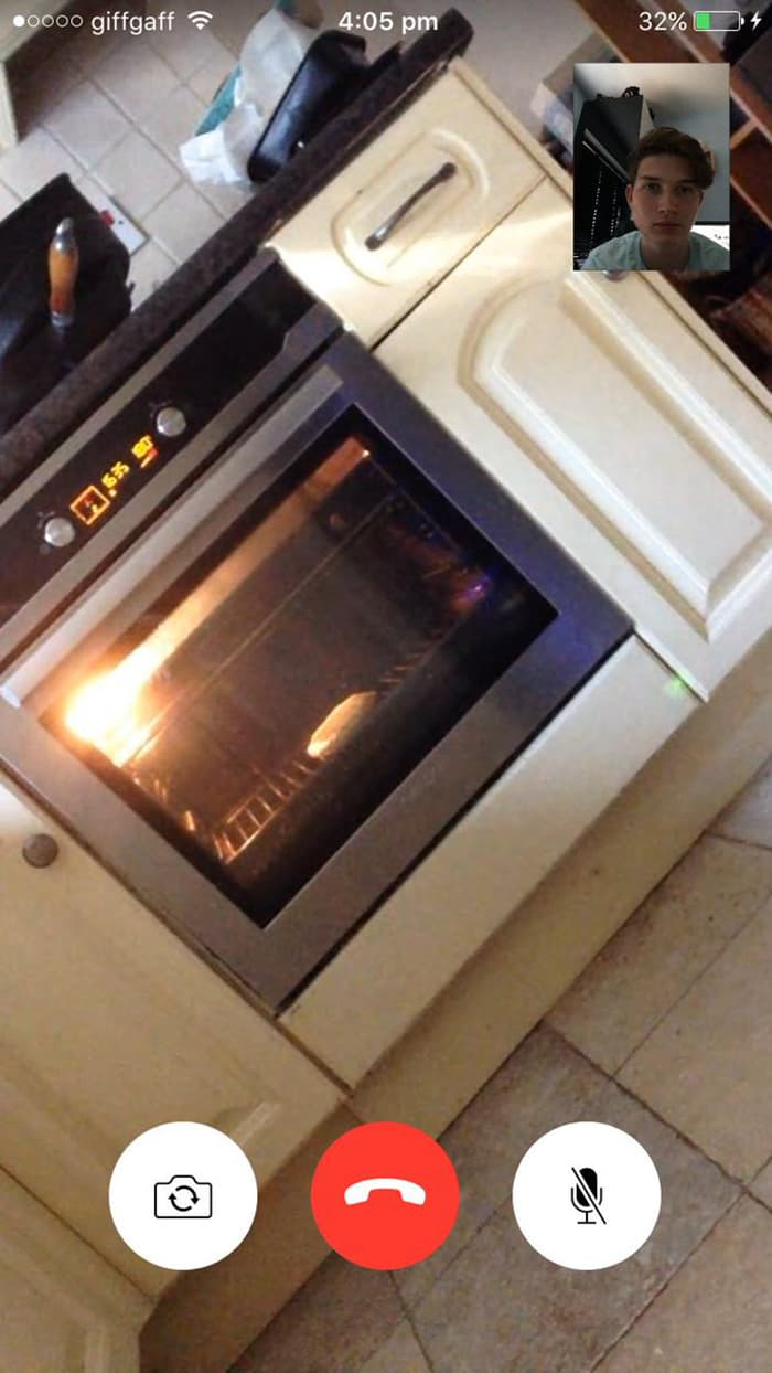 Clever People facetiming oven