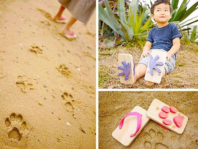 Cool Stuff flip flops animal footprints