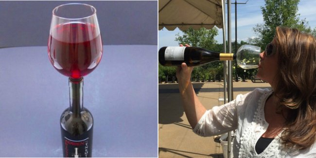 Cool Stuff wine glass attaches to bottle