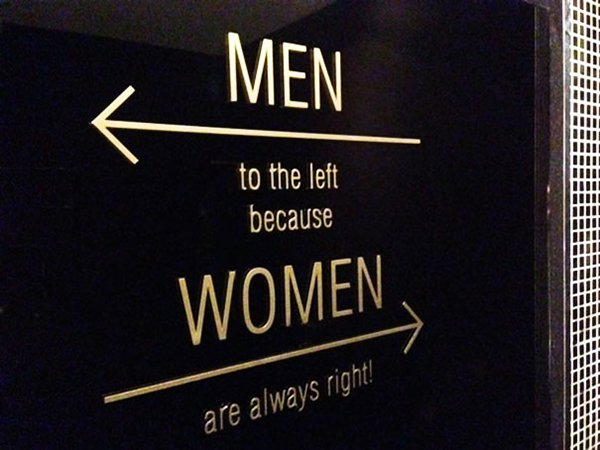 Creative Bathroom Signs Men to the left women always right