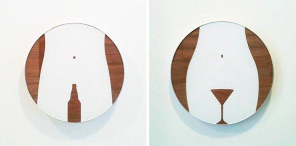 Creative Bathroom Signs beer bottle martini glass