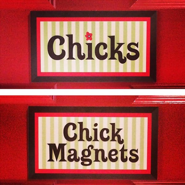 Creative Bathroom Signs chicks chick magnetts