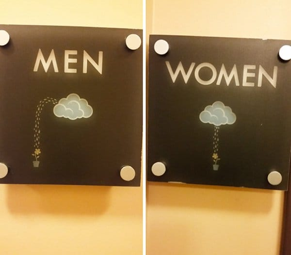 Creative Bathroom Signs clouds
