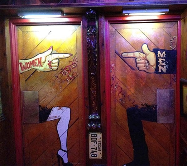Creative Bathroom Signs finger pointing