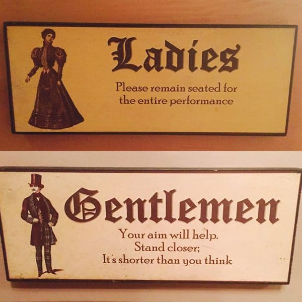 Creative Bathroom Signs ladies please remain seated men stand closer