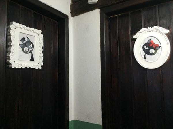 Creative Bathroom Signs tomcat and kitty
