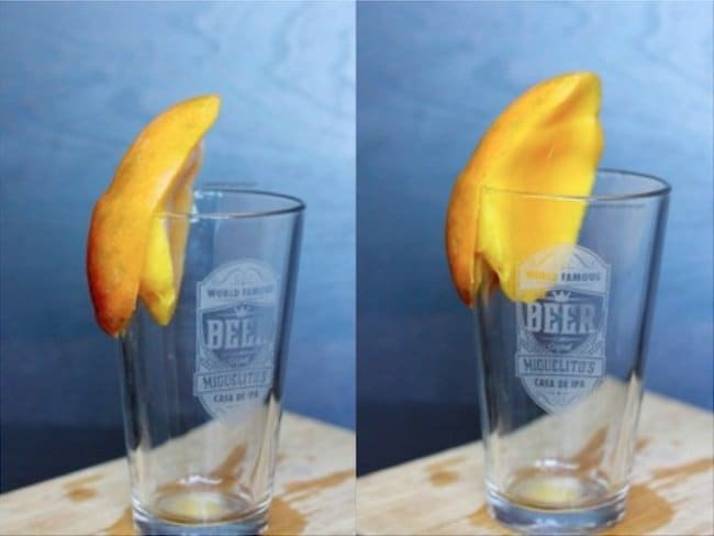 Ingenious Life Hacks peel a mango with a glass