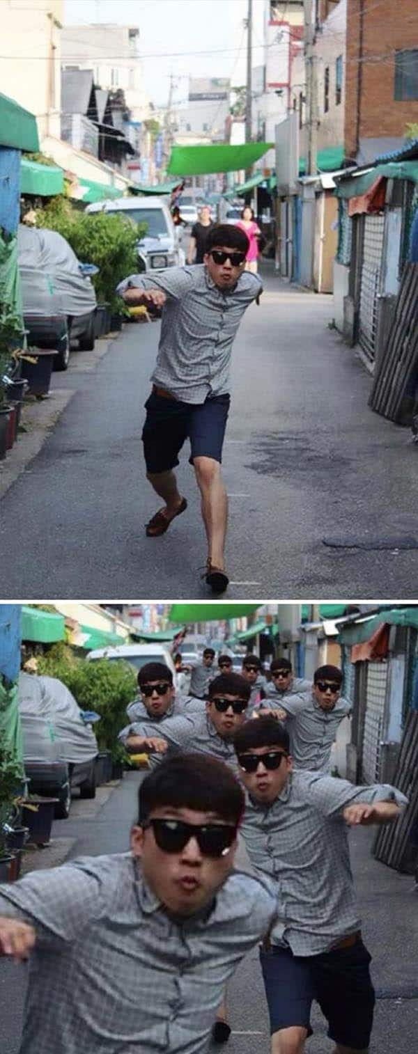 Korean Photoshop Masters group of scary people chasing me