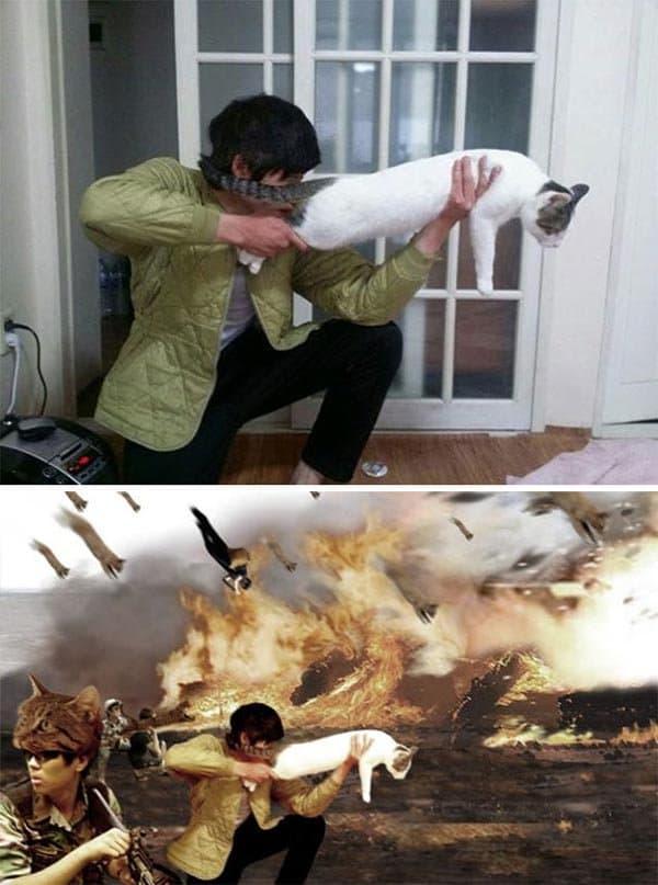 Korean Photoshop Masters hero in a war battle