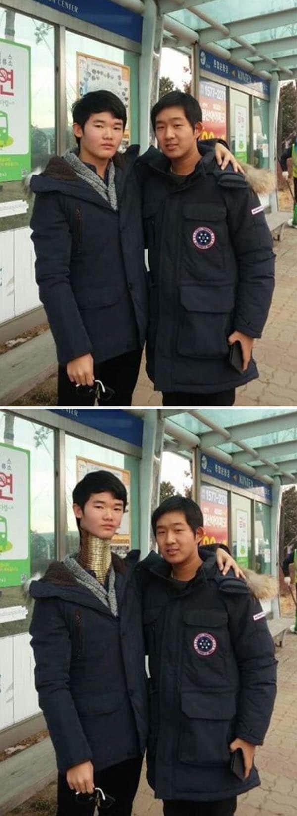 Korean Photoshop Masters make me taller than my friend
