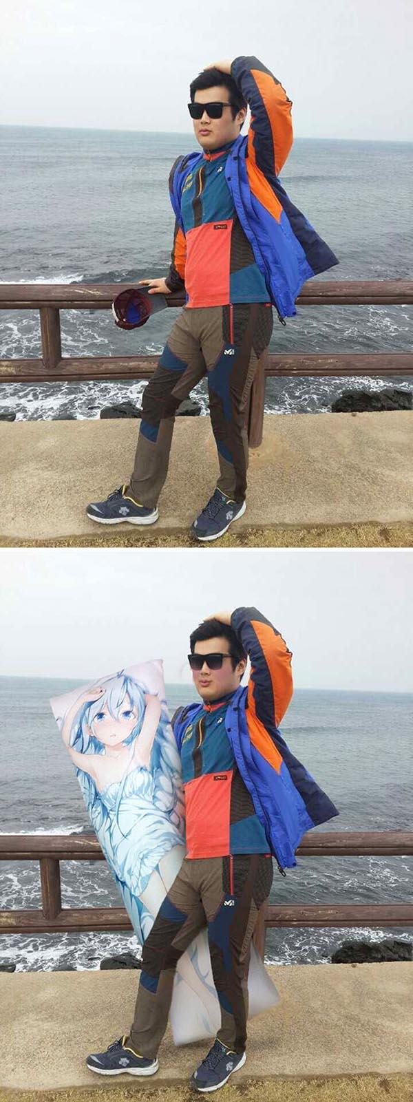 Korean Photoshop Masters put a pretty girl next to me