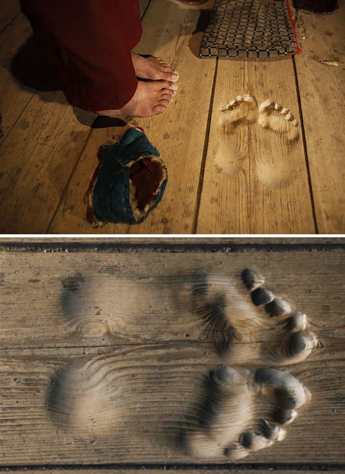 Pictures That Prove Time Changes Everything footprints in floor by monk