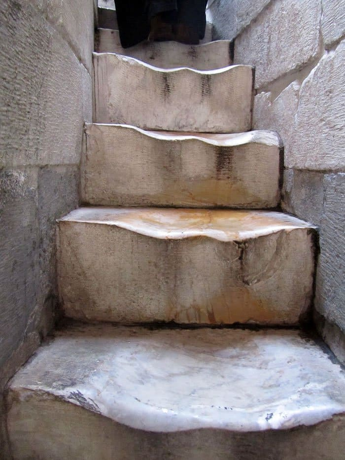 Pictures That Prove Time Changes Everything worn marble steps tower of pisa