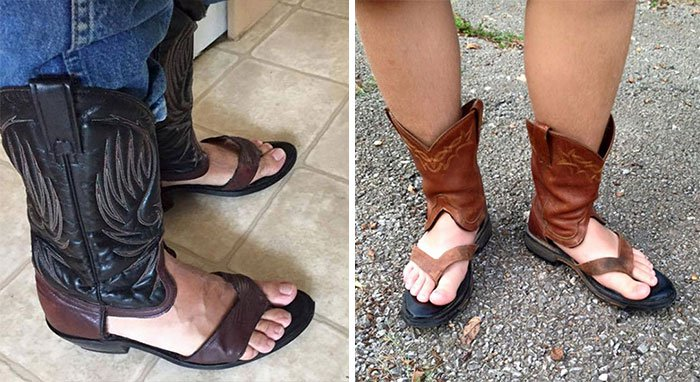 Ridiculous Clothing Items cowboy boot sandals