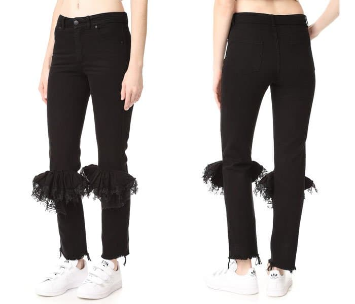 Ridiculous Clothing Items skinny jeans with frills