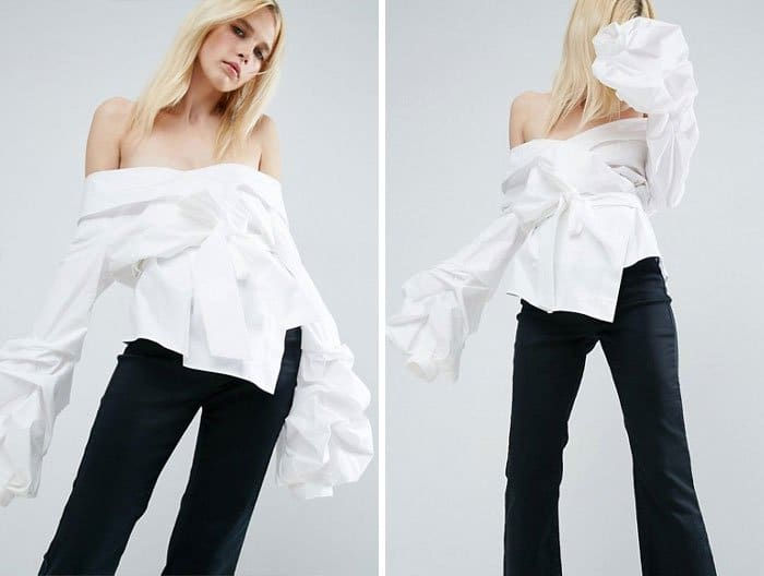 Ridiculous Clothing Items white off the shoulder wrap shirt
